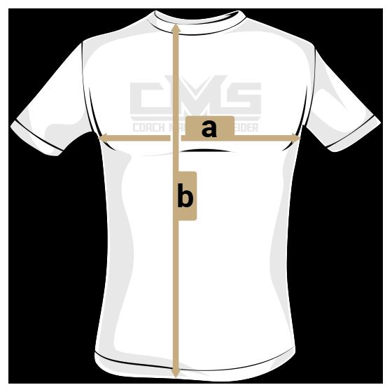 T-Shirt mit Hinweis auf die Bemassung (a) (b)